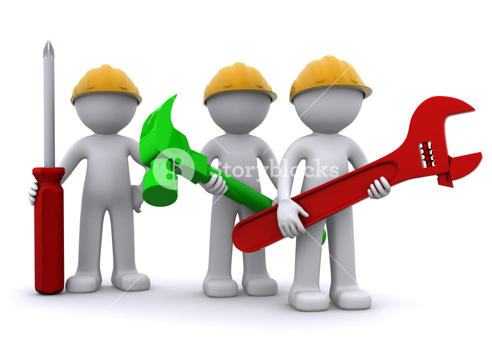 Team Of Construction Worker With Equipment