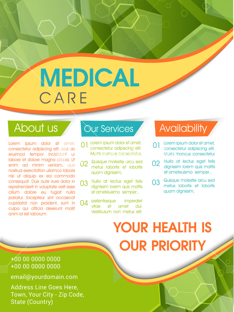 Template Brochure or Flyer design for Medical and Health Care concept.