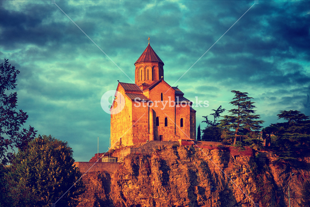 Thabori monastery on a hill in Tbilisi