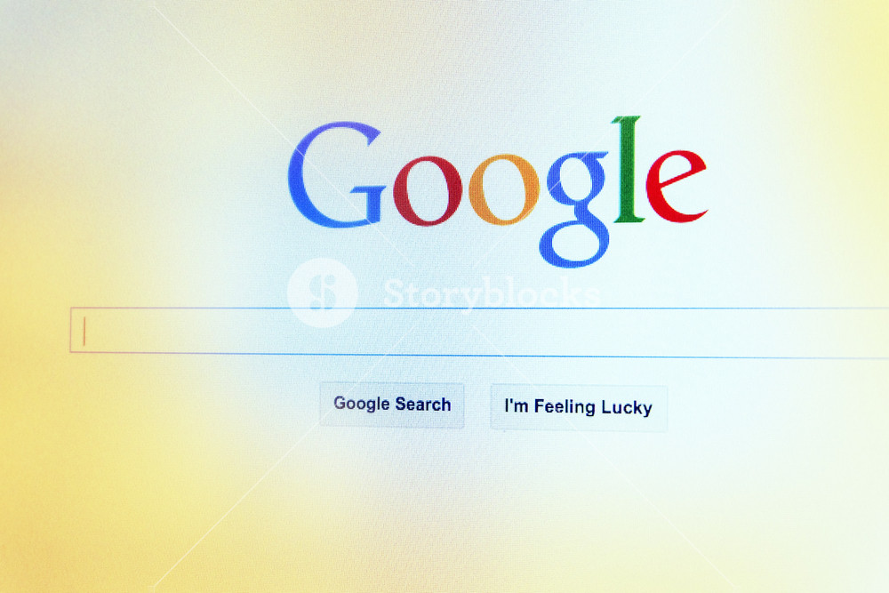 THAILAND - SEPTEMBER 2, 2014: Google search first landing page view on web browser.