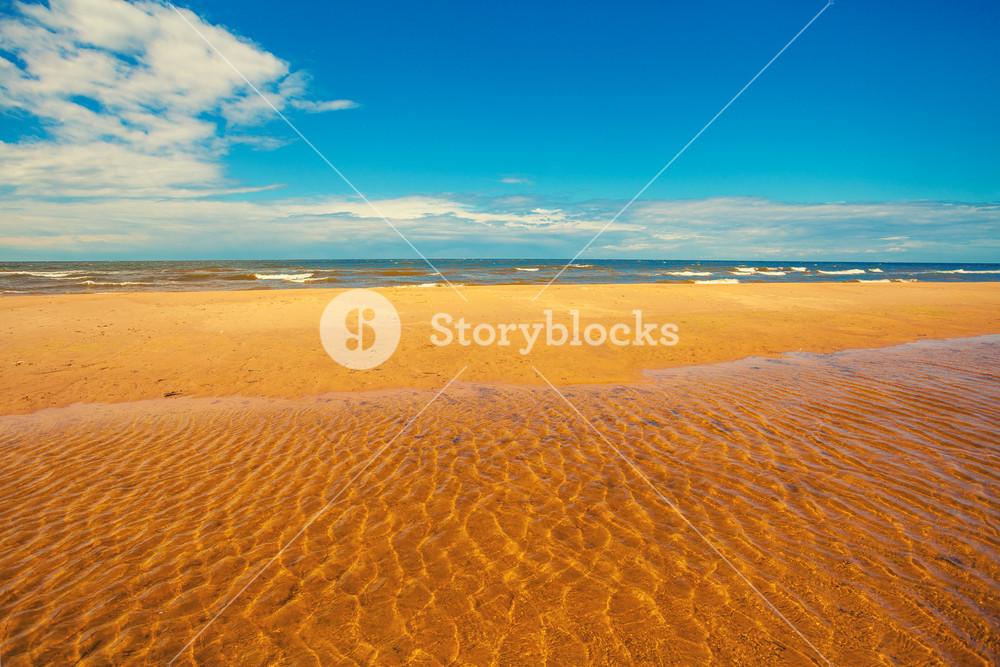The beach at high tide