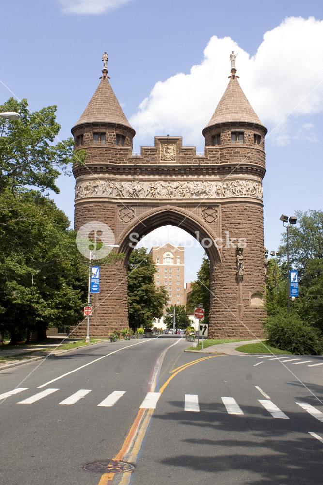 The brownstone Soldiers and Sailors Memorial Arch found in Hartford, Connecticut - the capital city.  This was dedicated to the lives lost during the Civil War.