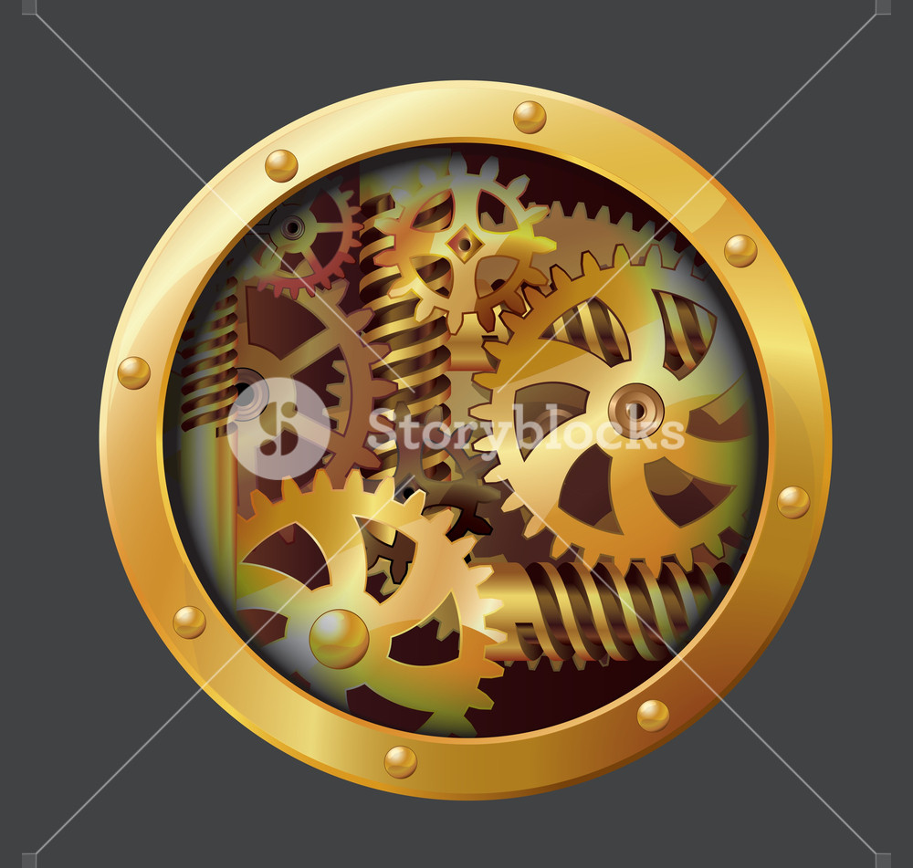 The Gears. Through Paper Hole. Vector.
