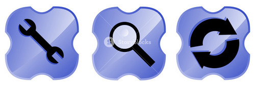 Tool Magnifying Glass Web Icons In Shield