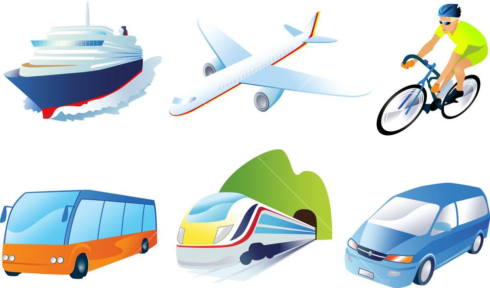 Travel Transportation Icon Set. Vector. Vehicles Icons