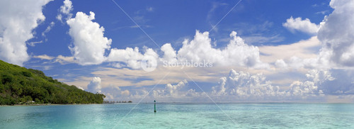 Tropical coast and clear, ocean waters