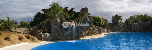 Tropical waterfall flowing into a swimming pool