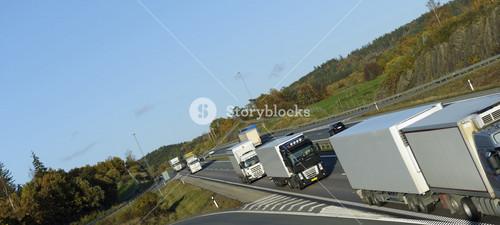 trucks and traffic on freeway