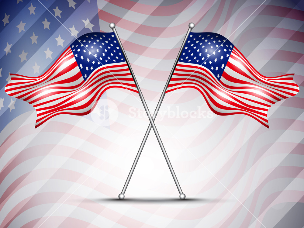 Two American Flag Waving On Seamless Flag Background For 4 July Independance Day And Other Occasions.