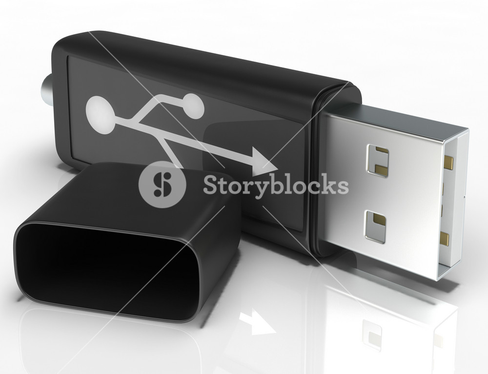 Usb Removable Flash Shows Portable Storage Or Memory