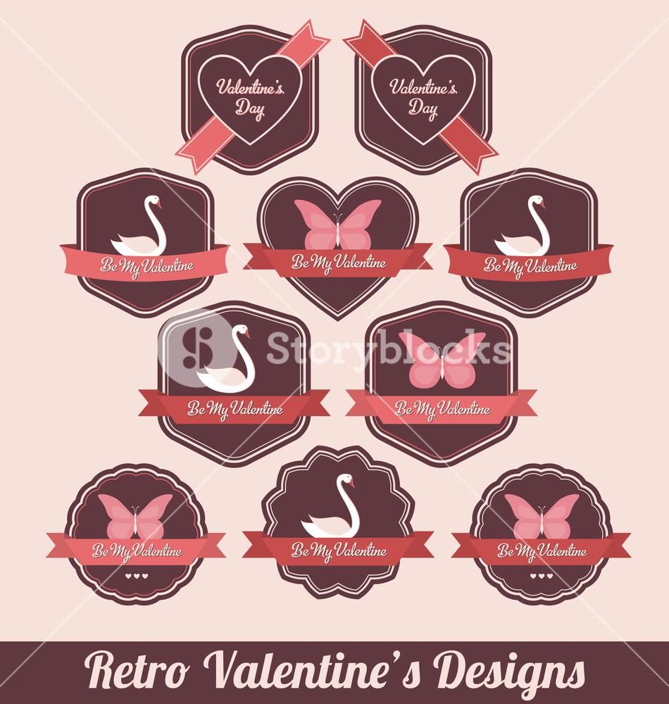 Valentines Day Labels - High Quality Retro Design