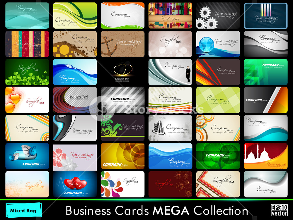 Variety Of 42 Detailed Round Corner Horizontal Colorful Abstract Business Cards Collection On Different Topics. Vector Illustartion Eps10.