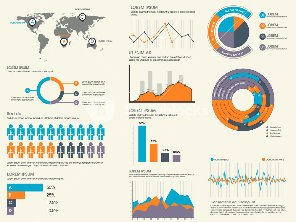 Various business infographics elements collection including world map