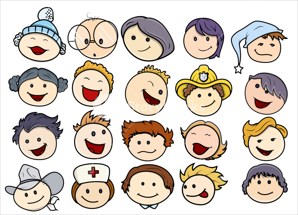Various Happy And Smiling Kids Faces