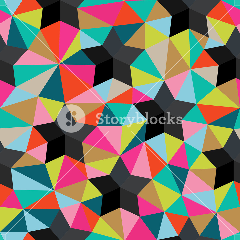 Vector Background Of Repeating Geometric Stars And Triangles. Stars Seamless Backdrop. Triangles. Seamless Pattern Can Be Used For Wallpaper