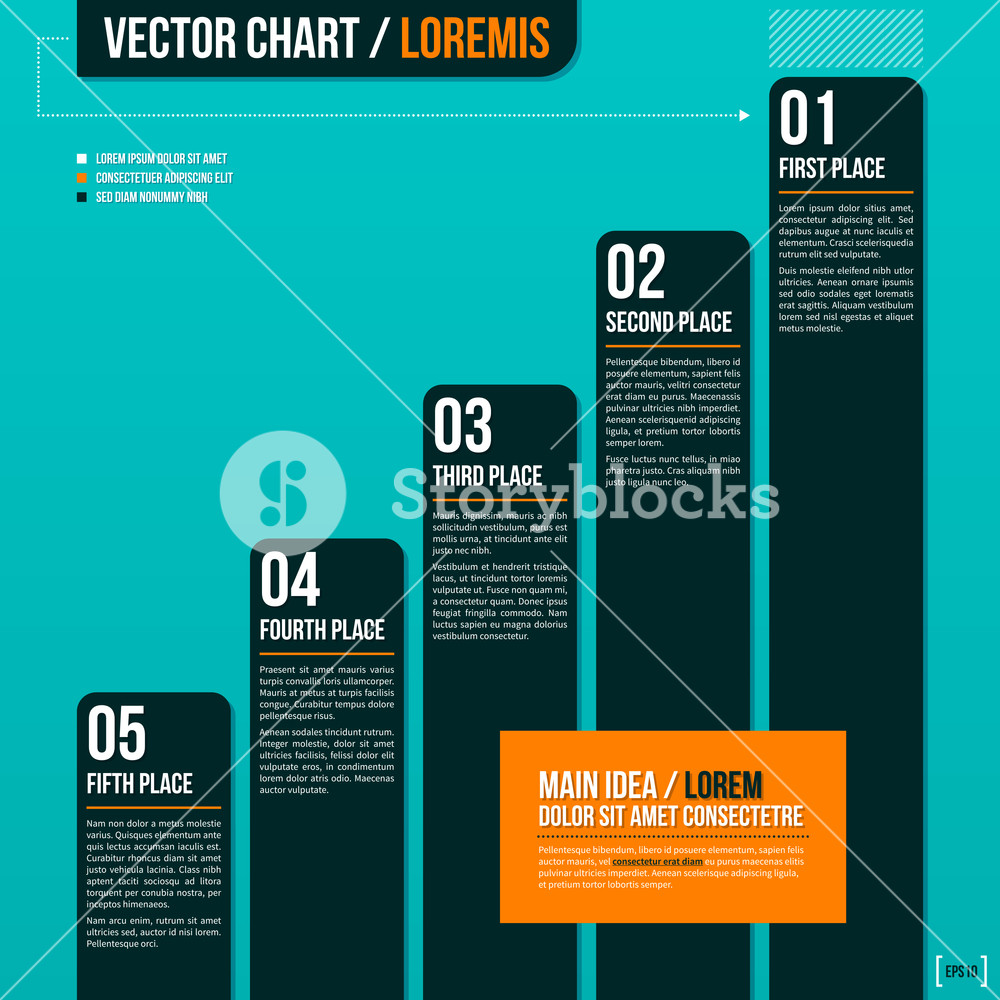 Vector Chart On Turquoise Background.