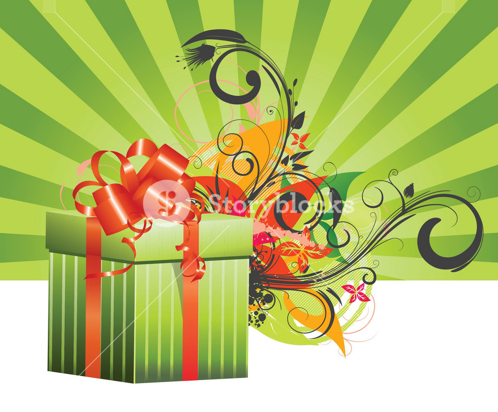 Vector Gift Box With Floral