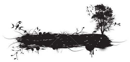 Vector Grunge Illustration With Tree And Birds