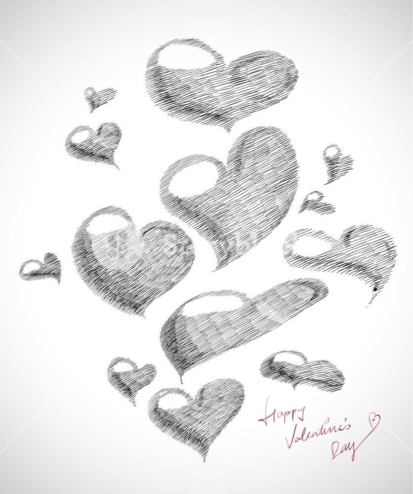 Vector Hand Drawn Valentine's Day Card Element