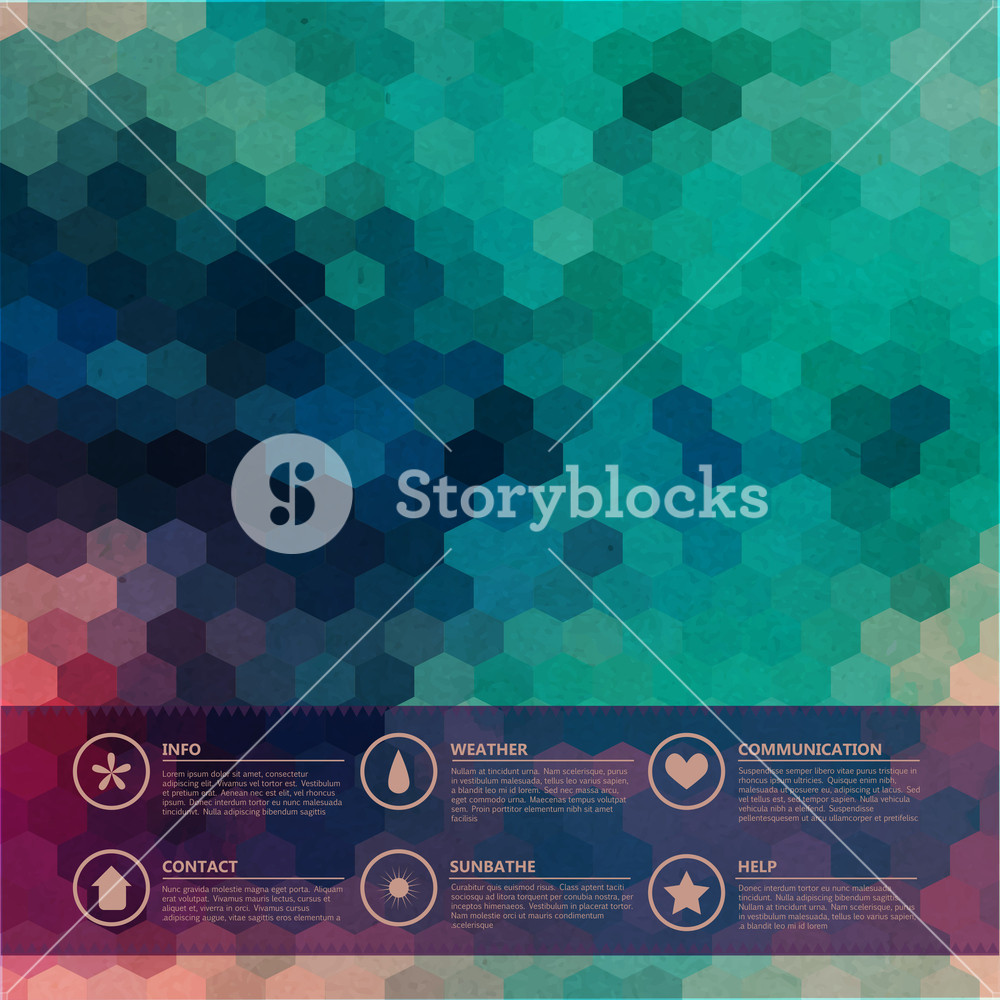 Vector Hexagons Grunge Background. Icons. Infographics Composition With Geometric Shapes. Geometric Pattern On The Back Is Complete. Retro Geometric Hexagon  Backdrop. Graphic Or Website Layout