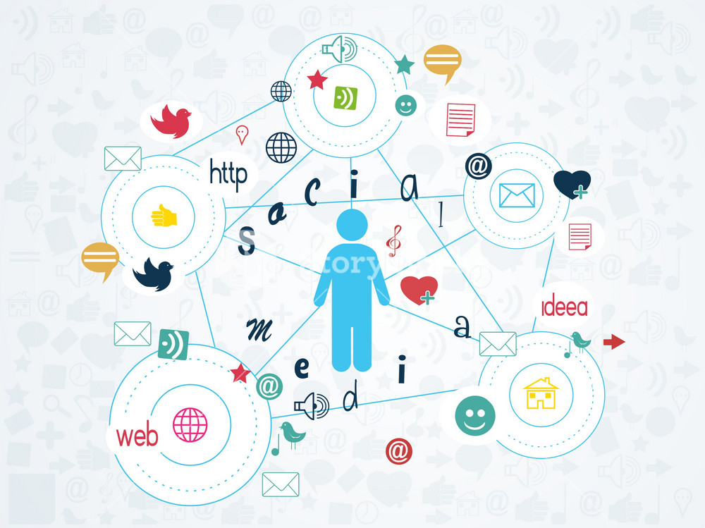Vector Human Shape With Social Icons