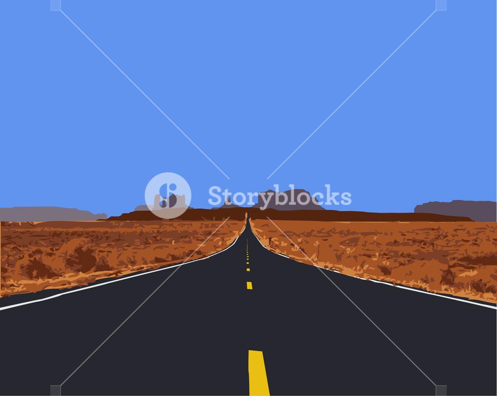 Vector Illustration Of Desert Road.
