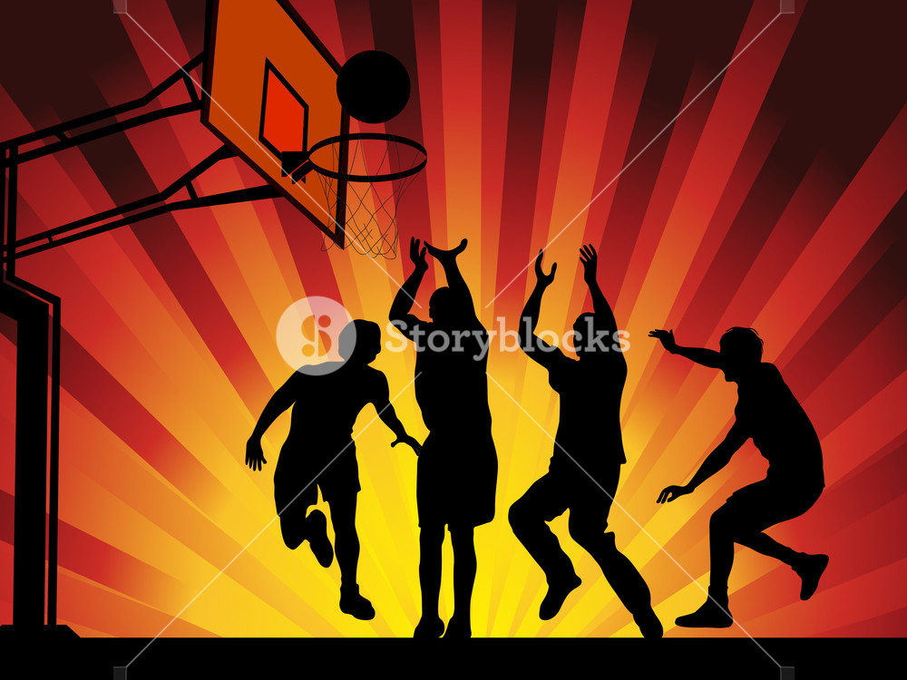 Vector Illustration Silhouettes Of Basketball Players On Shining Wave Abstract Background. Eps10