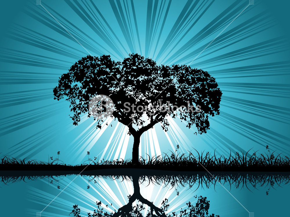 Vector Retro Tree Background