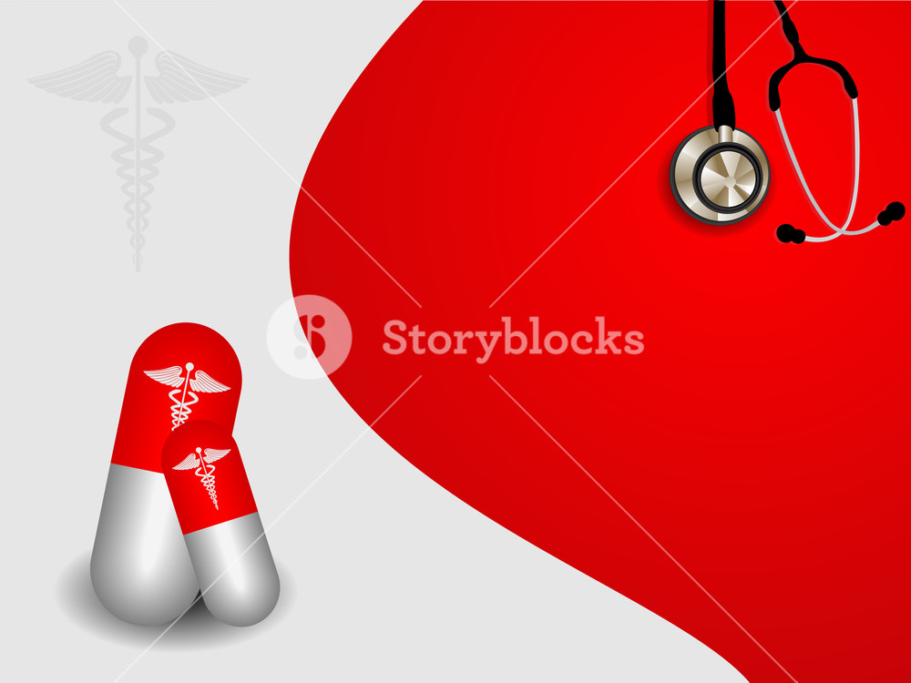 Vector Seamless Medical Symbol  On Red Background With Capsules