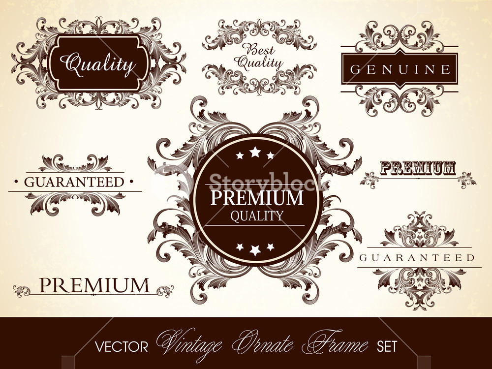 Vector Set Of Calligraphic Design Ornate Frame And Page Decoration. Eps10 Illustration.