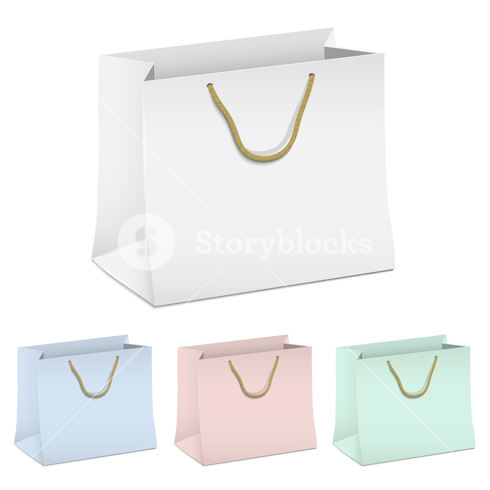 Vector Set Of Empty Shopping Paper Bags