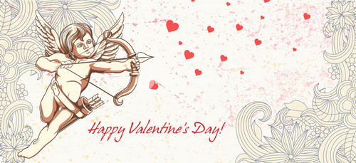 Vector Valentine's Background With Cupid