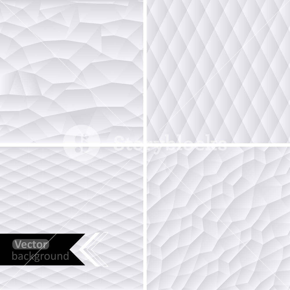 Vector White Geometric Background. Vector Illustration. White Mosaic Banners. Geometric Hipster Retro Background With Place For Your Text. Retro Triangle Background. Set Of Four Geometric Templates.