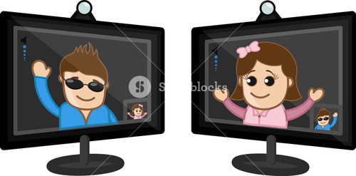 Video Chatting - Business Cartoon Characters Vector