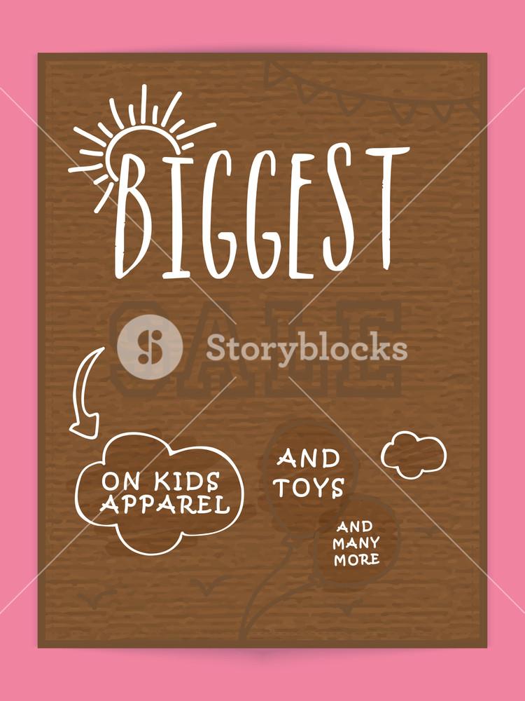 Vintage Biggest Sale poster banner or flyer design for kids apparel and toys.