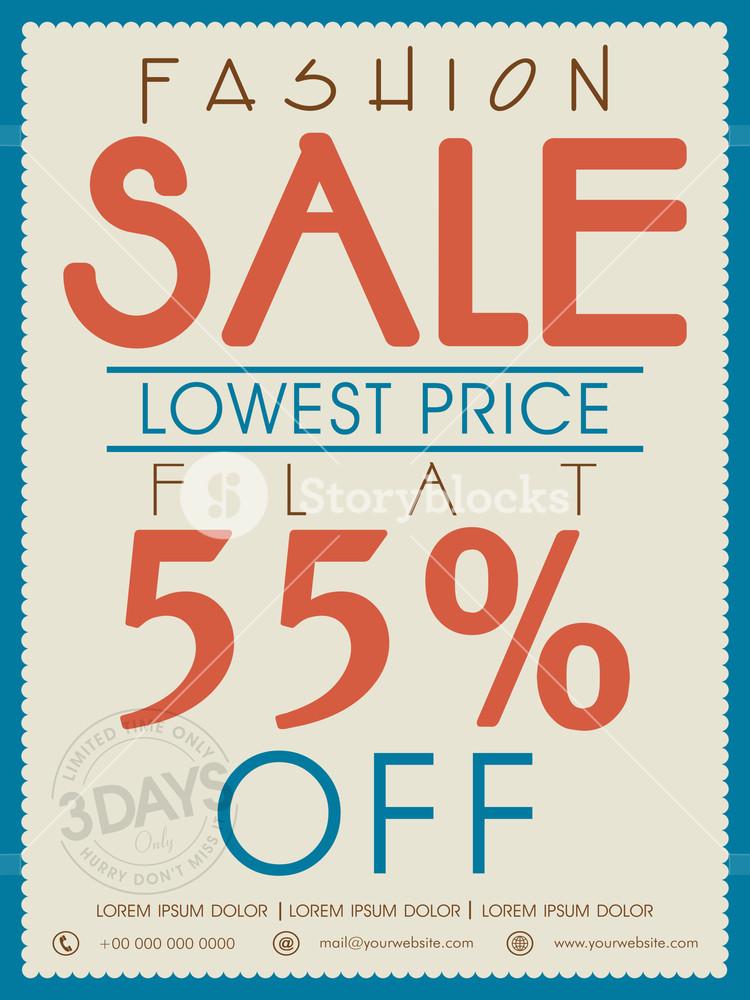 Vintage Fashion Sale poster banner or flyer design with flat discount offer.