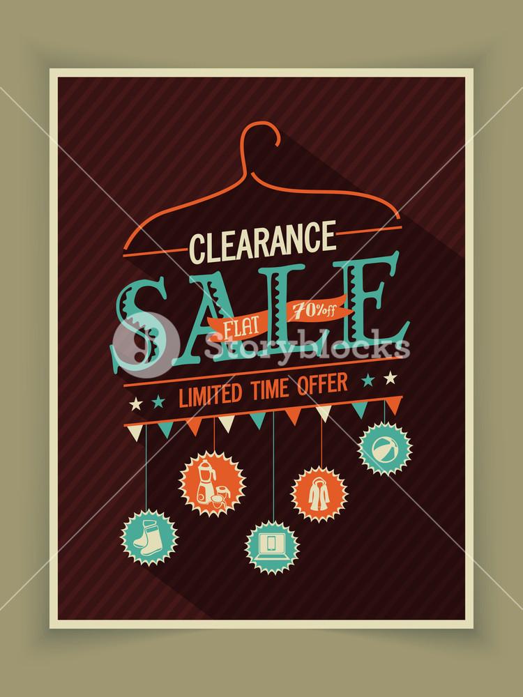 Vintage poster banner or flyer design of Clearance Sale for limited time offer.