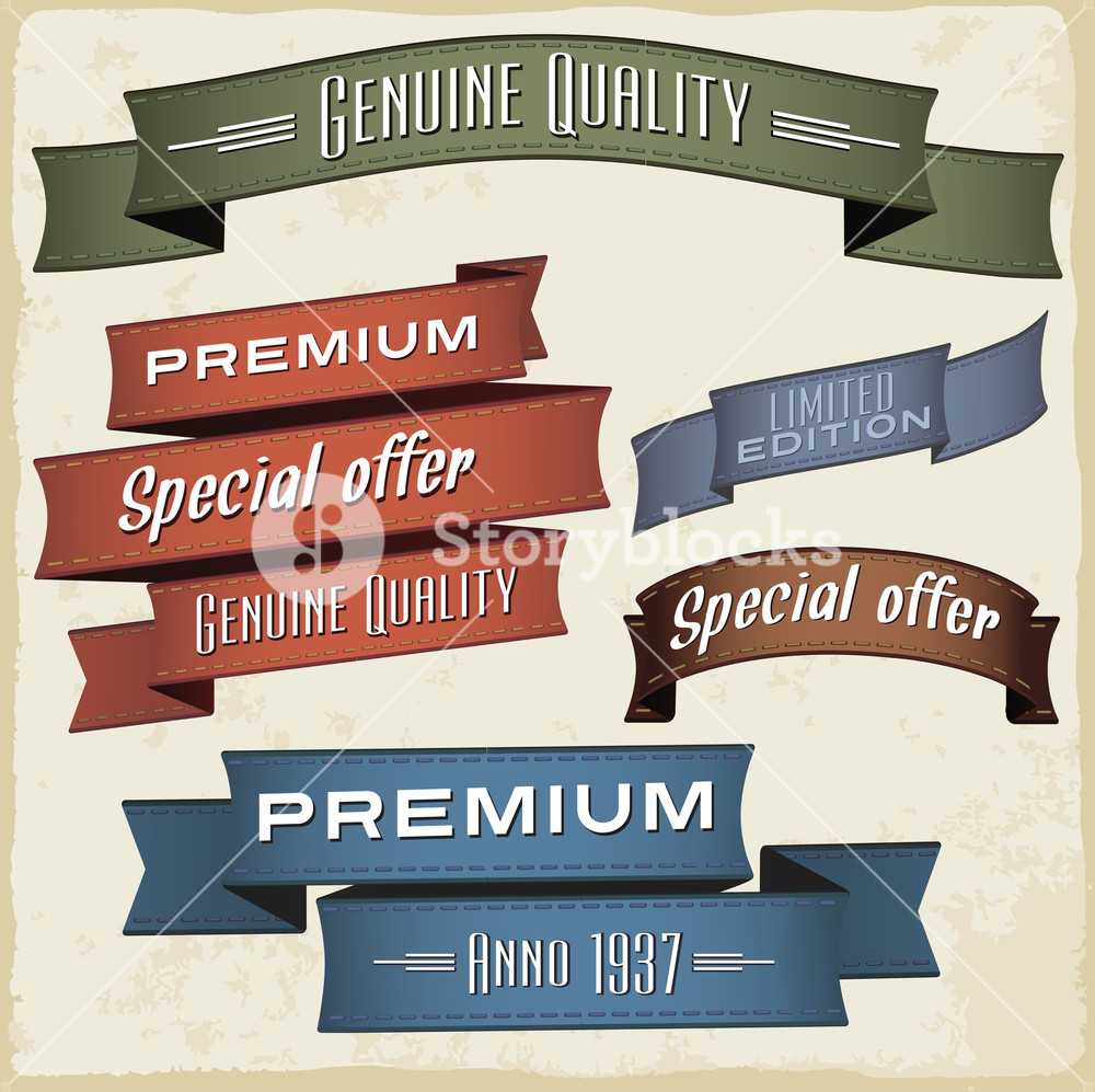 Vintage Retro Styled Ribbons Set. Vector Design Elements.