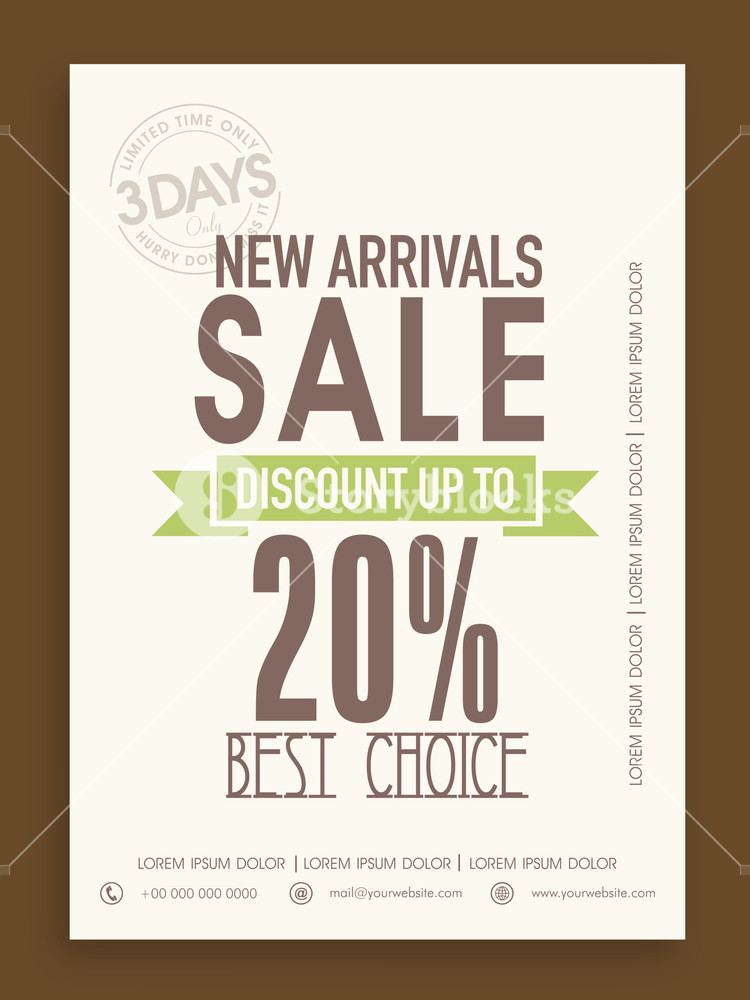 Vintage Sale poster banner or flyer design with discount offer on new arrivals for limited time.