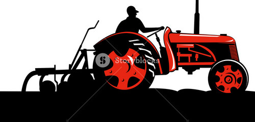 Vintage Tractor On Isolated Background