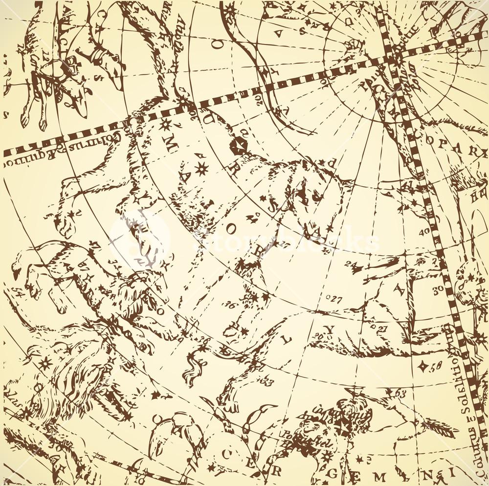 Vintage Zodiac Constellation Of Northen Stars.