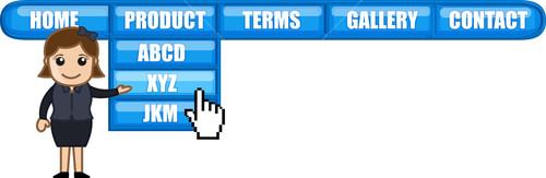 Web Page Navigation Menu - Cartoon Vector