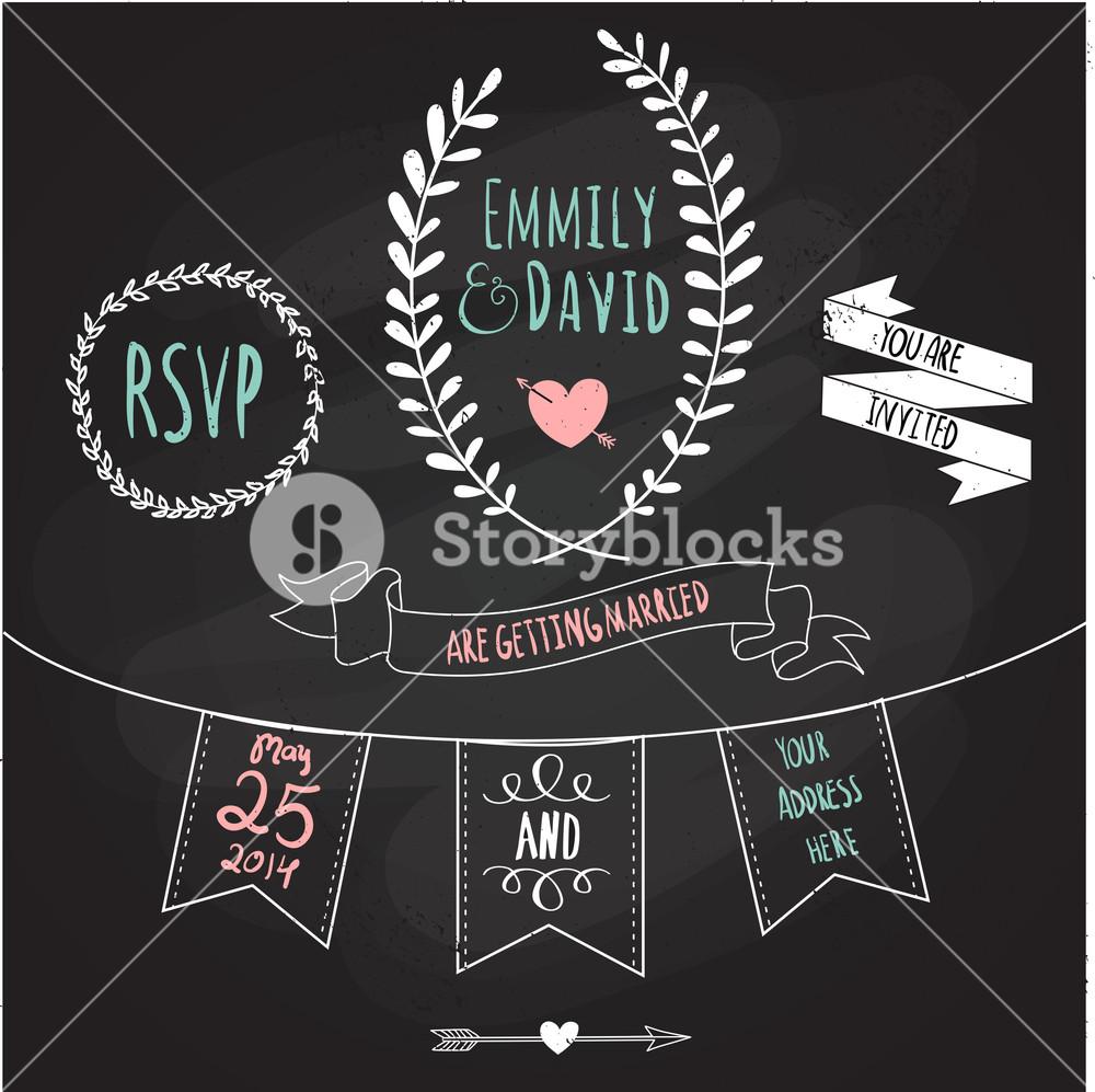 Wedding Invitation Template. Chalkboard Style Vector Card