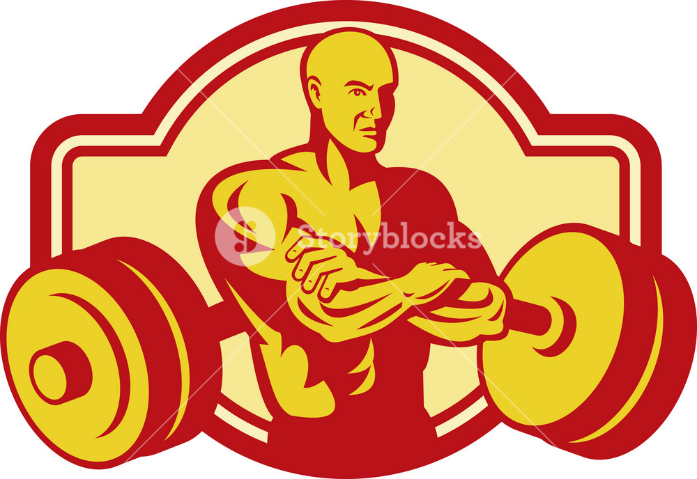Weightlifter Or Body Builder Posing With Weights