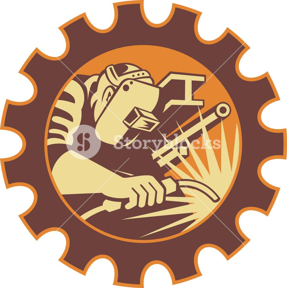 Welder Worker Welding Torch Retro