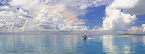 White boat traveling past a tropical coast