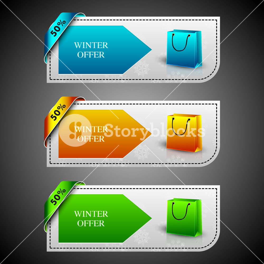 Winter Offer Banners With Shopping Bags