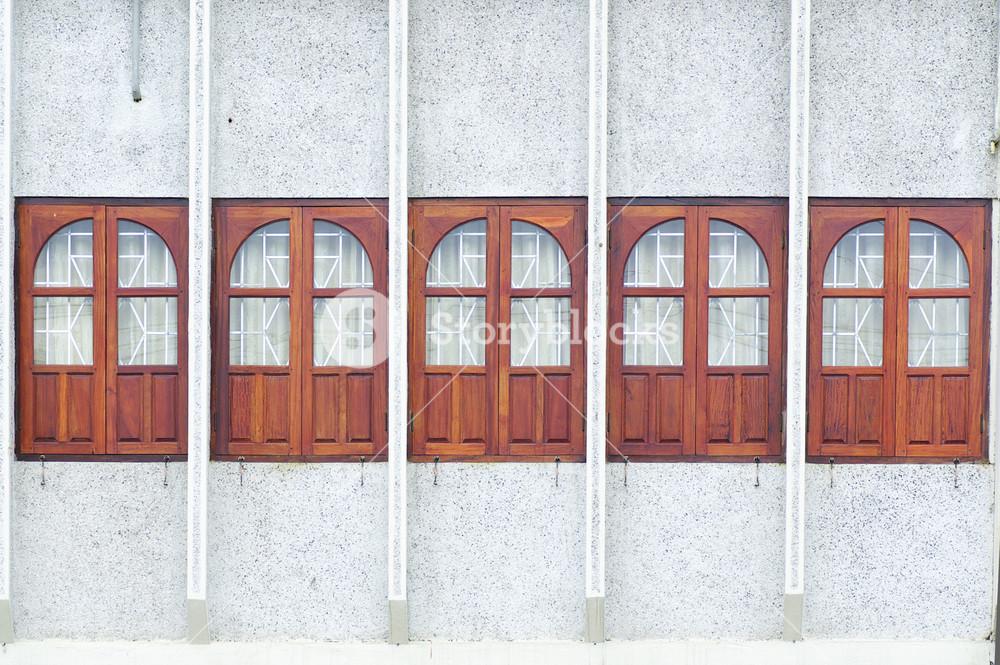 Wooden windows on asia house