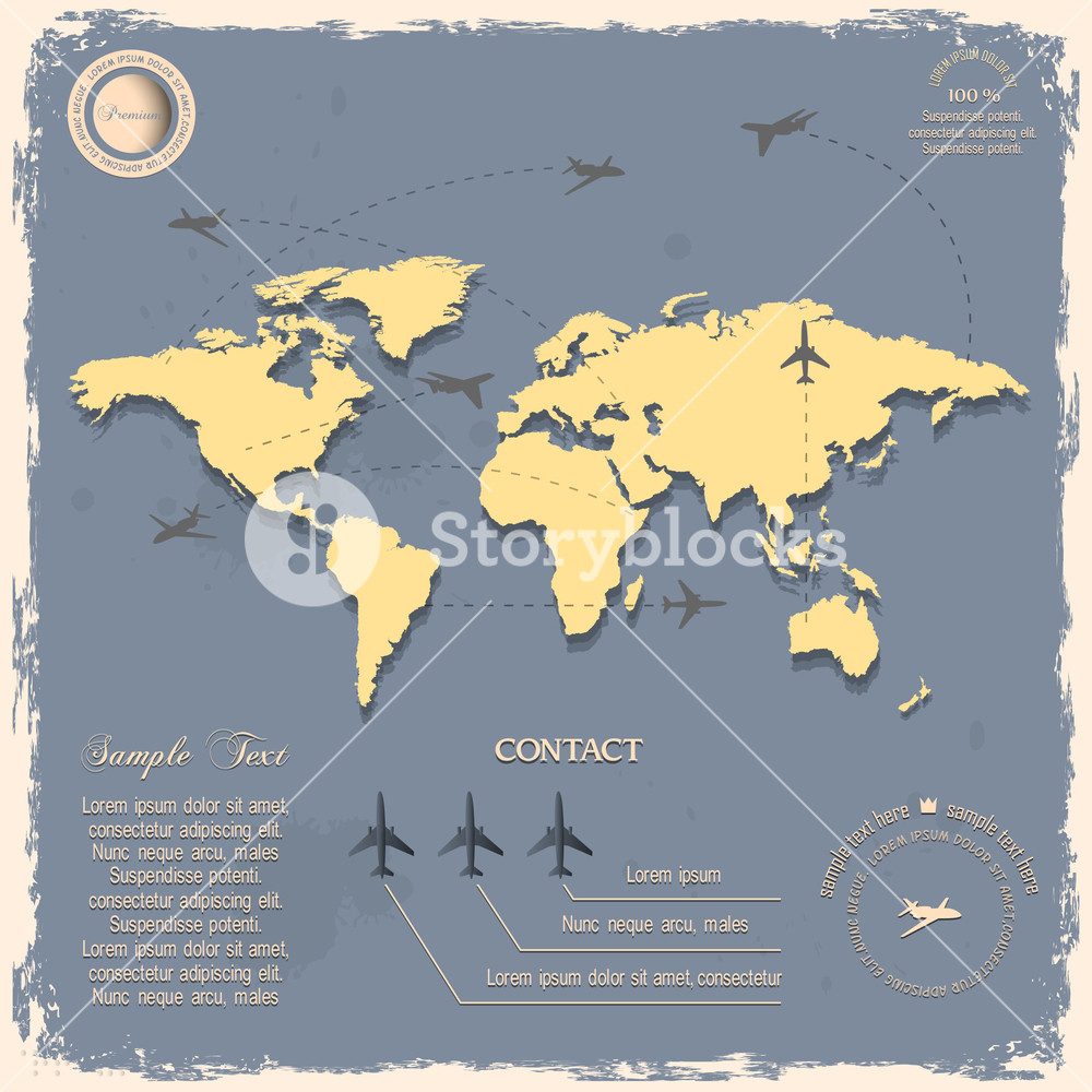 World Map With Aircrafts For Design In Vintage Style