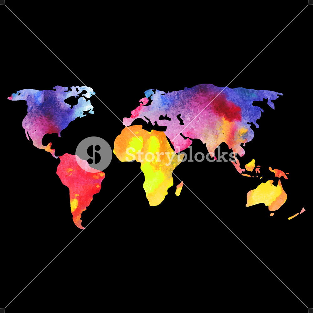 World Vector Map Painted With Watercolors